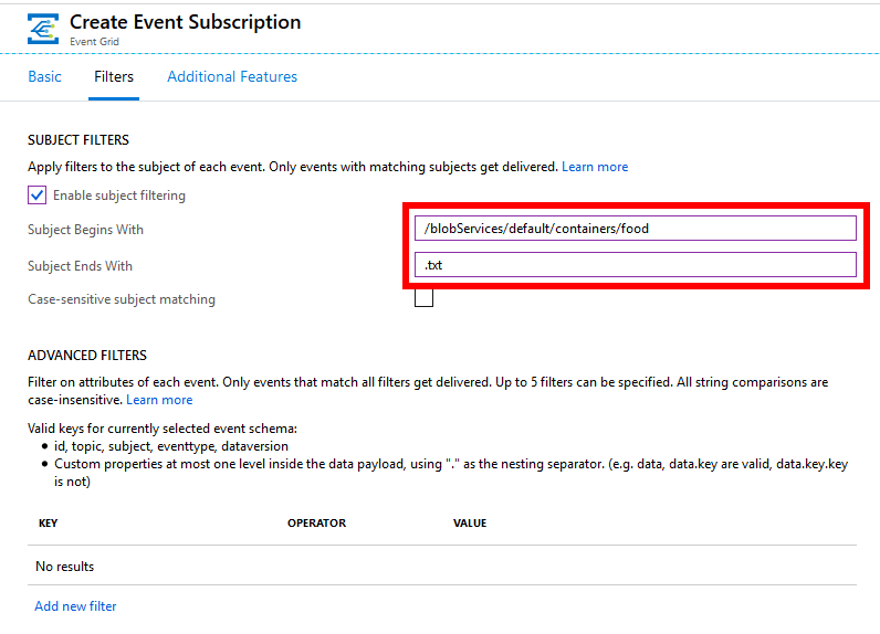 Configuring Azure Event Grid subscription to filter on blob storage containers