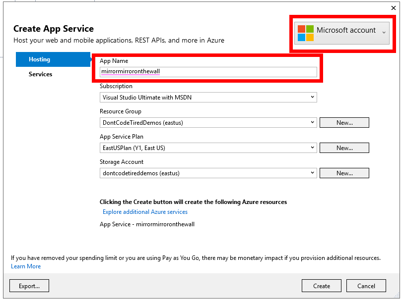App Service settings for Azure Function app